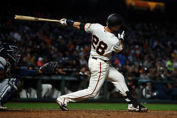 SAN FRANCISCO, CA - APRIL 08: Buster Posey #28 of the San Francisco Giants at bat against the San Diego Padres during the eighth inning at Oracle Park on April 8, 2019 in San Francisco, California. The San Diego Padres defeated the San Francisco Giants 6-5. (Photo by Jason O. Watson/Getty Images) *** Local Caption *** Buster Posey