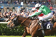 DUBAI ACCLAIM (4) ridden by Sammy Jo Bell and trained by Richard Fahey winning The Mondialiste Leger Legends Classified Stakes over 1m (£11,600) in a PHOTOGRAPH FINISH   during the opening day of the St Leger Festival at Doncaster Racecourse, Doncaster, United Kingdom on 11 September 2019.