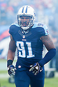 NASHVILLE, TN - OCTOBER 25:  Derrick Morgan #91 of the Tennessee Titans jogs onto the field before a game against the Atlanta Falcons at Nissan Stadium on October 25, 2015 in Nashville, Tennessee.  The Falcons defeated the Titans 10-7.  (Photo by Wesley Hitt/Getty Images) *** Local Caption *** Derrick Morgan