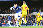 Everton defender Lucas Digne (12) and Crystal Palace midfielder James McArthur (18) during the Premier League match between Everton and Crystal Palace at Goodison Park, Liverpool, England on 21 October 2018.