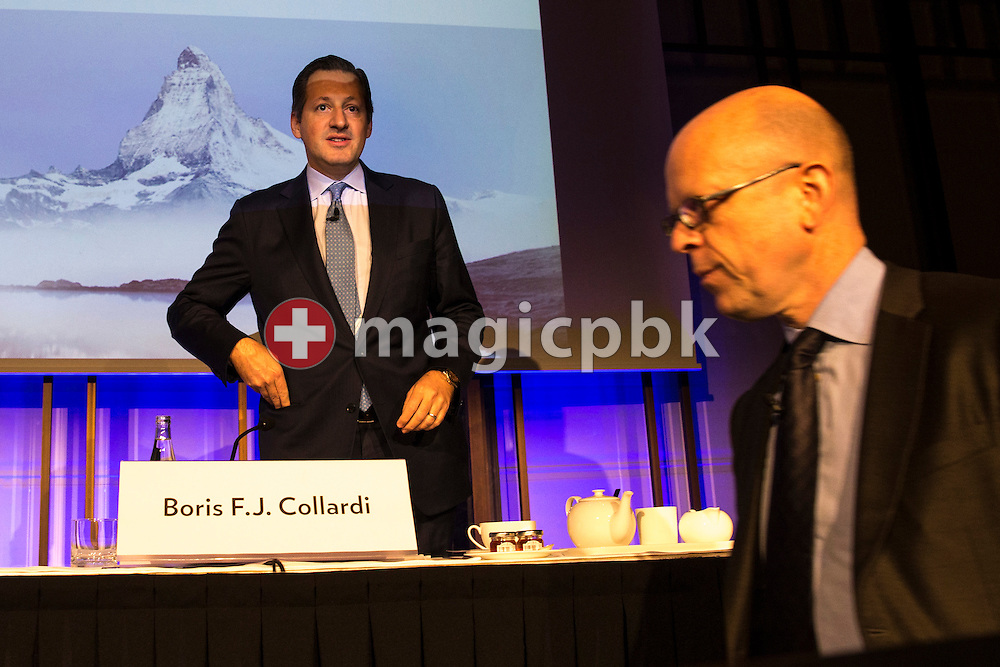 Boris F.J. Collardi (back), Chief Executive Officer (CEO), and Dieter A. Enkelmann, Chief Financial Officer (CFO), arrive for a press conference on the fourth quarter and full-year results 2014 of Julius Baer Group Ltd. held at the Hotel Widder in Zuerich, Switzerland, on Monday, 2 February 2015. (Photo by Patrick B. Kraemer / MAGICPBK)