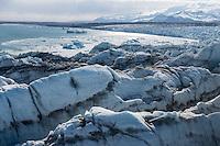 Breiðarmerkurjökull glacier calving off to Breiðarármerkurlón - also known as Jökulsárlón glacial lagoon. Southeast Iceland.
