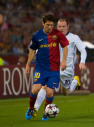ROME, ITALY - Tuesday, May 26, 2009: Barcelona's Messi and Manchester United's Wayne Rooney during the UEFA Champions League Final at the Stadio Olimpico. (Pic by Carlo Baroncini/Propaganda)
