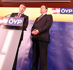14.04.2011, Landesparteileitung, Wien, AUT, OEVP Bundesparteivorstand, im Bild Außenminister Michael Spindelegger übernimmt das Amt von Josef Proell als OEVP Parteichef und Vizekanzler // during Press Conference of the executive board OEVP, AUT, Vienna, office of OEVP Vienna, 04-14-2011,  EXPA Pictures © 2011, PhotoCredit: EXPA/ M. Gruber