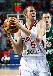 Sinan Guler of Turkey during the quarter-final basketball match between National teams of Turkey and Slovenia at 2010 FIBA World Championships on September 8, 2010 at the Sinan Erdem Dome in Istanbul, Turkey.  Turkey defeated Slovenia 95 - 68. (Photo By Vid Ponikvar / Sportida.com)