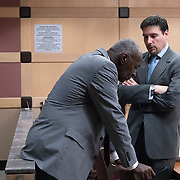AUGUST 13, 2018---FORT LAUDERDALE, FLORIDA--<br /> Prosecutors William Sinclair, right standing, and Chuck Morton, discuss developments before a hearing for Pablo Ibar's new trial. Ibar has been in jail  for 24 years accused of the murders of a bar owner and two models in his house following a home invasion.<br /> (Photo by Angel Valentin)