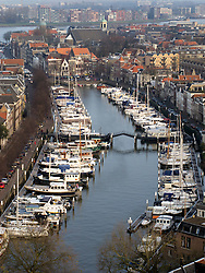 View of boats in harbour at Dordrecht in The Netherlands