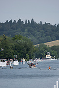 """Henley on Thames, United Kingdom, 4th July 2018, Wednesday,  General View,  down the course at a heat of the """"Wyfold Challenge Cup' Between Left, """"Avion Grenoblois , France"""", and """"Lea Rowing Club"""", first day of the annual,  """"Henley Royal Regatta"""", Henley Reach, River Thames, Thames Valley, England, © Peter SPURRIER,"""