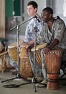 Hamptonburgh, New York - Maxwell Kofi Donkor of the Sankofa Drum and Dance Ensemble talks to the audience during a performance at the fourth annual Earth & Water Festival at Thomas Bull Memorial Park on June 4, 2011.
