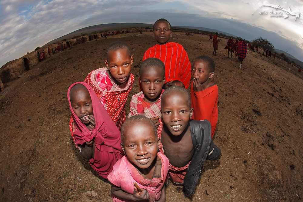 Maasai kids at a manyatta, an extended Maasai party in which rites of passage are performed. Near Loliondo, Tanzania.