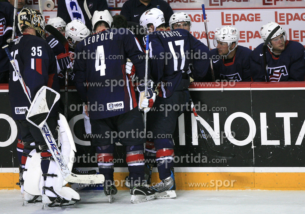U.S. Team celebrates at play-off round quarterfinals ice-hockey game USA  vs Finland at IIHF WC 2008 in Halifax,  on May 14, 2008 in Metro Center, Halifax, Nova Scotia,Canada. Win of Finland 3 : 2. (Photo by Vid Ponikvar / Sportal Images)