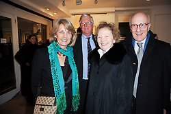Left to right, LADY HENRIETTA ST.GEORGE, RICHARD PLEYDELL-BOUVERIE and HUGH & JANE ROBERTS at a private view of recent paintings, drawings and prints by Dione Verulam (Countess of Verulam) held at Sladmore Contemporary art gallery, 32 Bruton Place, London on 10th February 2010.