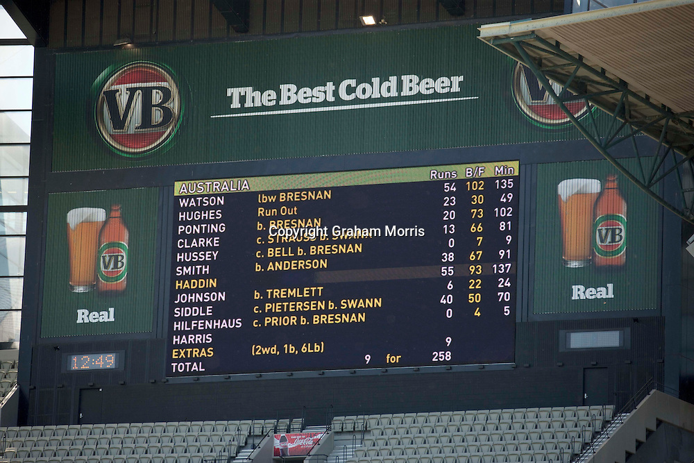 The scoreboard after England win the fourth Ashes test match between Australia and England at the MCG in Melbourne, Australia. Photo: Graham Morris (Tel: +44(0)20 8969 4192 Email: sales@cricketpix.com) 29/12/10