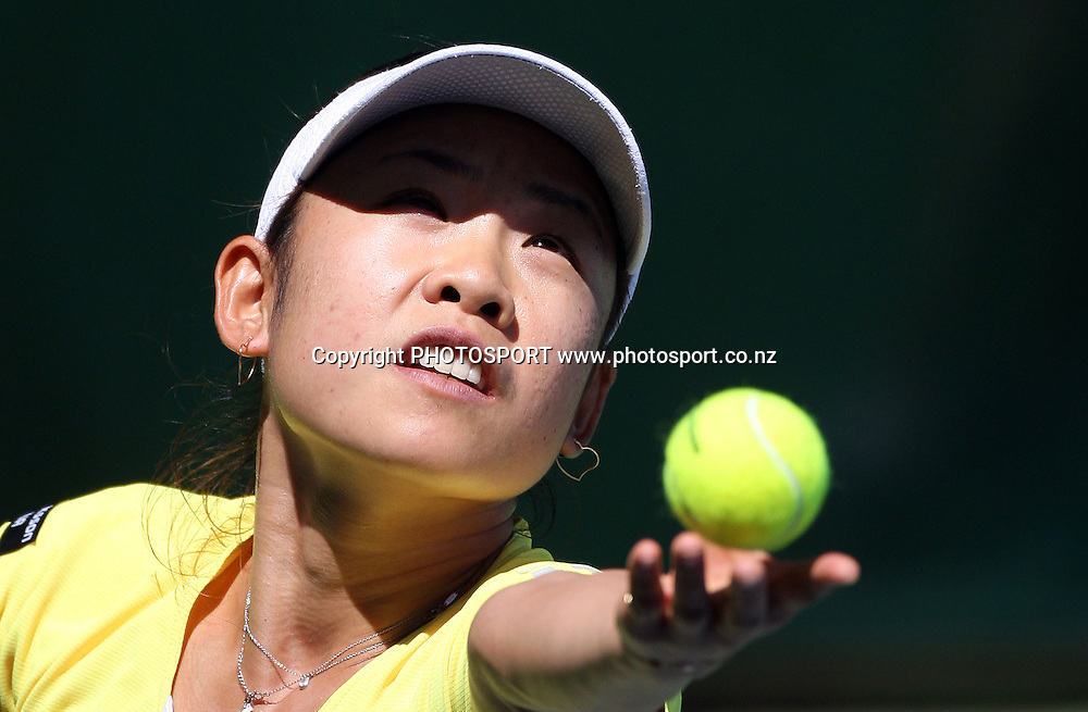 Japan's Aiko Nakamura during the second day at the ASB Classic, Stanley st Tennis Centre, Auckland, New Zealand. Tuesday 6 January 2009. Photo: Andrew Cornaga/PHOTOSPORT