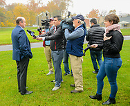 Scott Wallace speaks with media members after the Democratic congressional candidate in the first district voted Tuesday, November 06, 2018 at Buckingham Township Building in Buckingham. [WILLIAM THOMAS CAIN / PHOTOJOURNALIST]