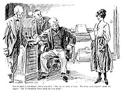 """Boss (to typist, a war flapper, who is very late). """" Eh, ye've coom at last. We were just talkin' aboot ye."""" Typist. """" Ah, I wondered what made my ear burn."""""""