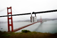 20 April 2015:  Personal lock that reads You Are Beautiful hanging from a metal guard rope just north of the Golden Gate Bridge in SAN FRANCISCO Marin County.  Battery Spencer lookout point. France cut off love locks.