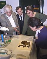 Tote Meer Rollen, Qumran, Mikroskop<br /> <br /> Professor Carsten Thiede (l.), Professor Georg Masuch, beide aus Paderborn und Pnina Schorr diskutieren &uuml;ber ein biblisches Fragment der Qumranrollen, das gerade von einer Mitarbeiterin der Antikenbeh&ouml;rde ge&ouml;ffnet wurde. <br /> Photo: Varda