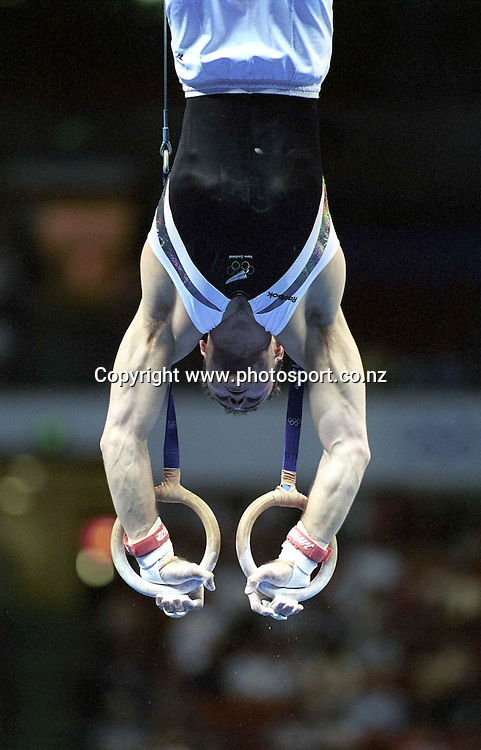 David Phillips (NZL) competes in the Men's individual Gymnastics at the Olympics in Sydney, Australia on 16 September, 2000. Photo: Dean Treml/PHOTOSPORT<br />