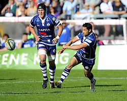 Bristol Rugby's Marco Mama spreads the play - Photo mandatory by-line: Joe Meredith/JMP - Tel: Mobile: 07966 386802 06/10/2013 - SPORT - FOOTBALL - RUGBY UNION - Memorial Stadium - Bristol - Bristol Rugby V Bedford Blues - The Championship