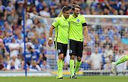 Dale Stephens sets up Tomer Hemed's goal and they celebrate together during the Sky Bet Championship match between Ipswich Town and Brighton and Hove Albion at Portman Road, Ipswich, England on 29 August 2015.