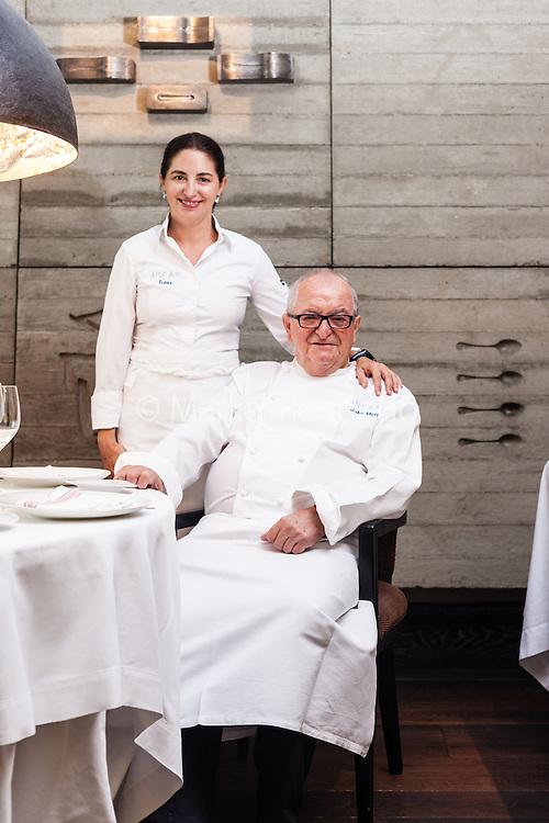 Elena and Juan Mari Arzak at Arzak restaurant, in San Sebastian, Spain.