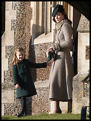 December 25, 2019, Sandringham, United Kingdom: Image licensed to i-Images Picture Agency. 25/12/2019. Sandringham, United Kingdom. The Duchess of Cambridge and Princess Charlotte leaving the Christmas Day church service at Sandringham in Norfolk, United Kingdom. (Credit Image: © Stephen Lock/i-Images via ZUMA Press)
