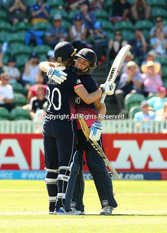 July 2nd 2017, The Cooper Associates County Ground, Taunton, England; The ICC Womens World Cup; England Women versus Sri Lanka Women; England Captain Heather Knight congratulates Sarah Taylor of England after she reaches her fifty