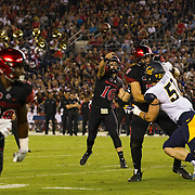 10 September 2016: The San Diego State Aztecs football team hosts Cal in their second game of the season. San Diego State quarterback throws a twenty yard touchdown pass to running back Rashaad Penny (20) in the first quarter. The Aztecs lead 31-21 at halftime.