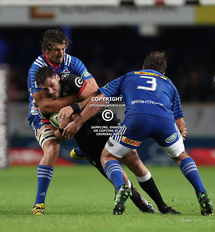 DURBAN, SOUTH AFRICA - MAY 27: Eben Etzebeth (vice-captain) of the DHL Stormers holds up Ruan Botha of the Cell C Sharks during the Super Rugby match between Cell C Sharks and DHL Stormers at Growthpoint Kings Park on May 27, 2017 in Durban, South Africa. (Photo by Steve Haag/Gallo Images)