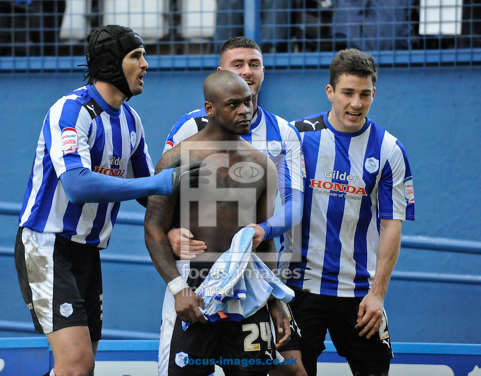 Picture by Richard Land/Focus Images Ltd +44 7713 507003.23/02/2013.Leroy Lita of Sheffield Wednesday celebrates the winning goal during the npower Championship match at Hillsborough, Sheffield.