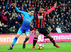 Hector Bellerin of Arsenal battles for the ball with Lys Mousset of Bournemouth - Mandatory by-line: Alex James/JMP - 14/01/2018 - FOOTBALL - Vitality Stadium - Bournemouth, England - Bournemouth v Arsenal - Premier League