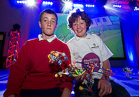 Max Payton and Clyde Dockery from Tullykyne National School runners up in  the Medtronic Knex Challenge beating over 300 children at the Radisson blu Hotel.  Medtronic KNEX Challenge is for  primary school children completing  exceptional tasks which will be judged on the level of engineering, innovation and communication displayed by the teams.. .The final event of the week is the Medtronic  Junior FIRST LEGO League challenge on THURSDAY. This is the second year The Galway Education Centre has hosted this competition - one of only six countries in the world who do so. Following the success of last year, over 500 school children from all over the country are expected to come along and practice their robotics, presentation and teamwork skills live on the night!. .Bernard Kirk, Director of The Galway Education Centre says; ?Working on this three day event every year is fun and exciting and always surprising. The talent, instinct and drive we discover in these young children is an inspiration to all of us. We look forward to the continued success of all of our challenges which would not be possible without the support of companies like Medtronic, SAP, HP and LEGO?.. .All of these events are open to the public and free admission. They will also be streamed live on line at www.galwayeducationcentre.ie. Photo:Andrew Downes.