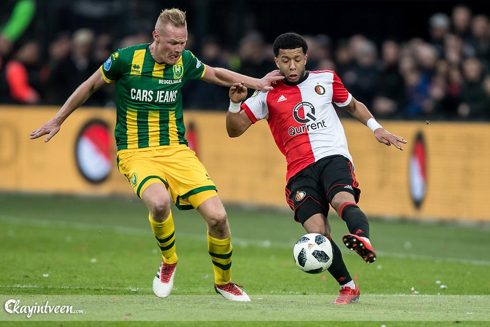 ROTTERDAM - Feyenoord - ADO Den Haag , Voetbal , Seizoen 2017/2018 , Eredivisie , Stadion Feijenoord de Kuip , 28-01-2018 , eindstand 3-1 , Feyenoord speler Tonny Vilhena (r) ADO Den Haag speler Tom Beugelsdijk (l)