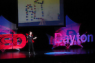 Shu Shiller speaks during TEDx Dayton at the Victoria Theatre in downtown Dayton, Friday, November 15, 2013.  TEDx Dayton is a localized version, and uses a format similar to national TED (Technology, Entertainment, Design) events.