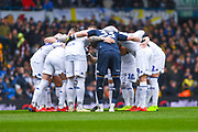 Leeds players huddle before the EFL Sky Bet Championship match between Leeds United and Sheffield United at Elland Road, Leeds, England on 16 March 2019.