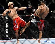 "ATLANTA, GEORGIA, SEPTEMBER 6, 2008: Ryo Chonan (left) clashes legs with Roan Carneiro during ""UFC 88: Breakthrough"" inside Philips Arena in Atlanta, Georgia on September 6, 2008"