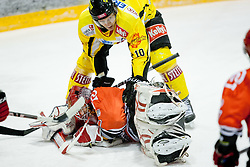 Michal Fikrt (HK Acroni Jesenice, #37) covers a puck and Philipp Pinter (UPC VIenna Capitals, #10) during ice-hockey match between HK Acroni Jesenice and UPC Vienna Capitals in 2nd Placement Round of EBEL league, on January 24, 2012 at Dvorana Podmezaklja, Jesenice, Slovenia. (Photo By Matic Klansek Velej / Sportida)