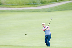 June 22, 2018 - Madison, WI, U.S. - MADISON, WI - JUNE 22: David Toms hits his third shot on the ninth hole during the American Family Insurance Championship Champions Tour golf tournament on June 22, 2018 at University Ridge Golf Course in Madison, WI. (Photo by Lawrence Iles/Icon Sportswire) (Credit Image: © Lawrence Iles/Icon SMI via ZUMA Press)