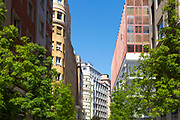 SANTANDER, SPAIN - April 17 2018 - Colourful buildings and Spanish architecture in Santander, Spain, Europe.