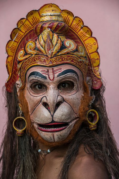 Hanuman mask for Raas festival<br /> Mising Tribe (Mishing or Miri Tribe)<br /> Majuli Island, Brahmaputra River<br /> Largest river island in India<br /> Assam,  ne India