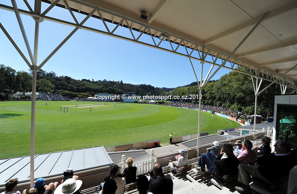 A general view of play on Day 3 of the first test match between South Africa and New Zealand at the University Oval in Dunedin, New Zealand on Friday 9 March 2012. Photo: Andrew Cornaga/Photosport.co.nz