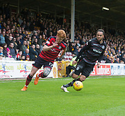 28th April 2018, Fir Park, Motherwell, Scotland; Scottish Premier League football, Motherwell versus Dundee; Simon Murray of Dundee races past Charles Dunne of Motherwell