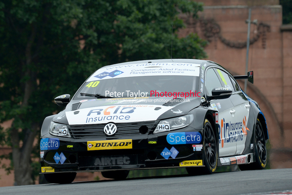 #40 Aron Smith IRL BKR Volkswagen CC  during first practice for the BTCC Oulton Park 4th-5th June 2016 at Oulton Park, Little Budworth, Cheshire, United Kingdom. June 04 2016. World Copyright Peter Taylor/PSP.
