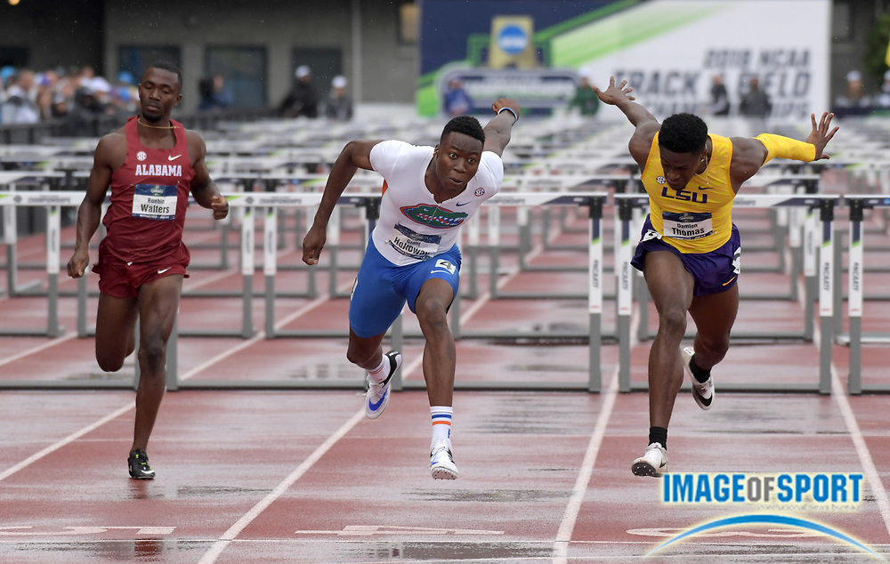 Jun 8, 2018; Eugene, OR, USA; Grant Holloway of Florida defeats Daniel Thomas of LSU to win the 110m hurdles in 13.42 during the NCAA Track and Field championships at Hayward Field.