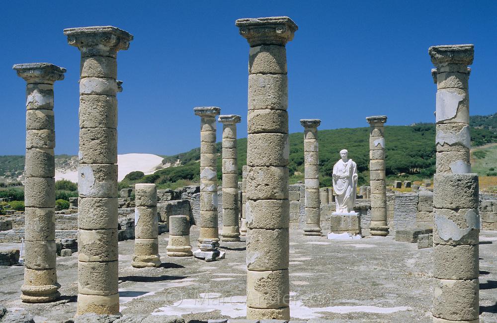 Staue of Trajan in the roman ruins of Baelo Claudia, Bolonia, Costa del Sol, Spain