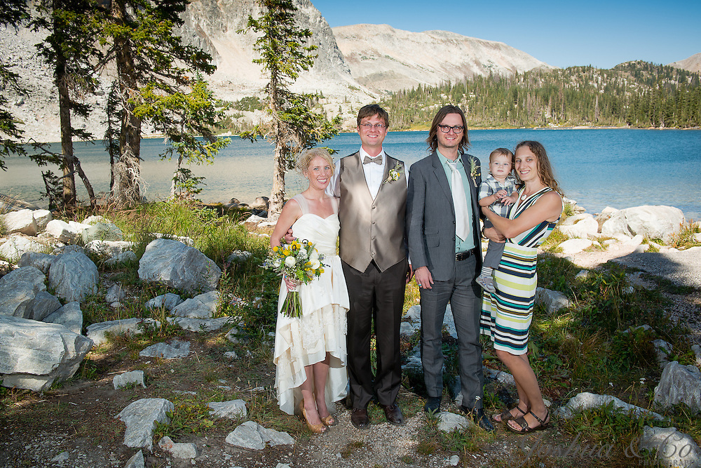 Tieg Weathers and Marie Engdahl are married at Lake Marie at the base of the Medicine Bow Mountains west of Laramie, Wyoming on Saturday, Aug. 25, 2012. Joshua Buck // Joshua & Co. Photography // www.joshuacophotography.com
