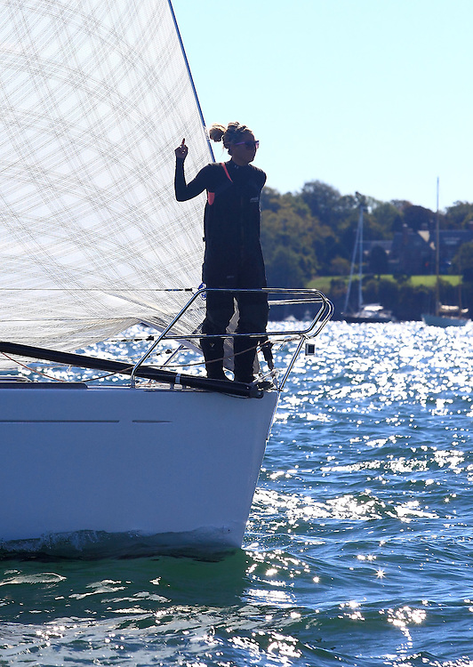 Ginny Holt on Slipstream at the start of the 9th Annual Sail for Hope event in Newport, RI.