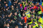 Trouble flares at half time involving the Feyenoord fans during the Europa League match between Rangers FC and Feyenoord Rotterdam at Ibrox Stadium, Glasgow, Scotland on 19 September 2019.