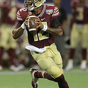 Florida State Seminoles quarterback Deondre Francois (12) is seen during an NCAA football game between the Ole Miss Rebels and the Florida State Seminoles at Camping World Stadium on September 5, 2016 in Orlando, Florida. (Alex Menendez via AP)